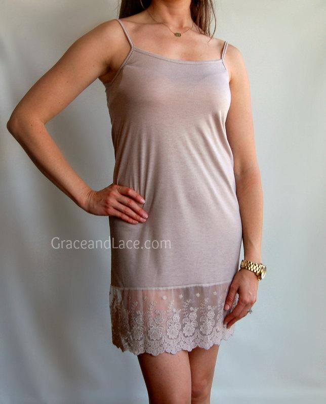 Ohh la la lace latte taupe lace skirt extender long lace cami l