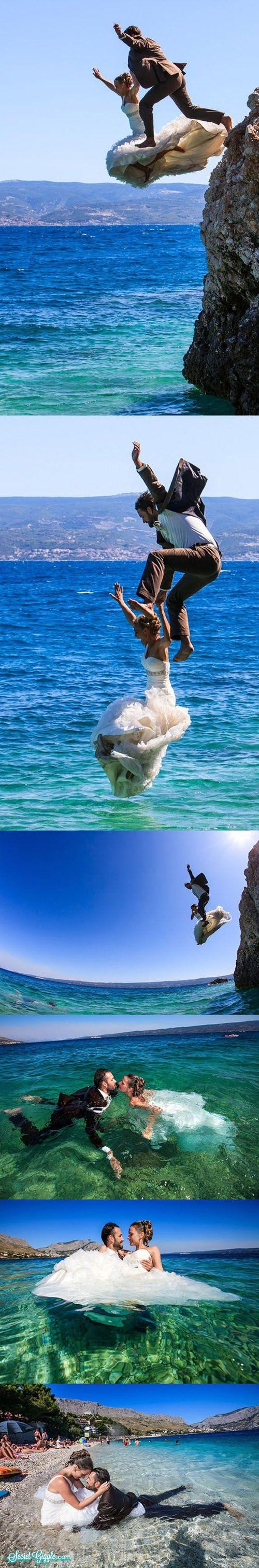 sesja ślubna-skok do wody