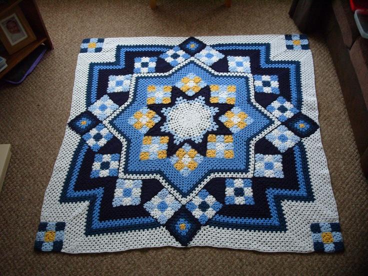 Free Crochet Pattern For Star Afghan : Blue star afghan Crochet Pinterest