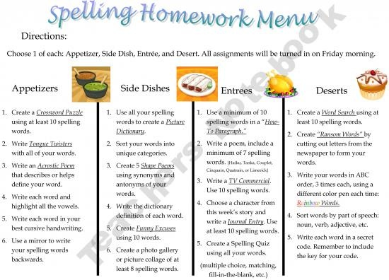 FREE Spelling Homework Menu - for differentiated instruction