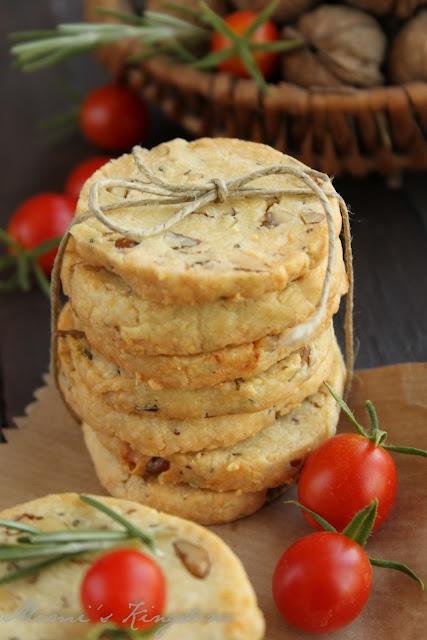 homemade crackers with cheese, rosemary & walnut.