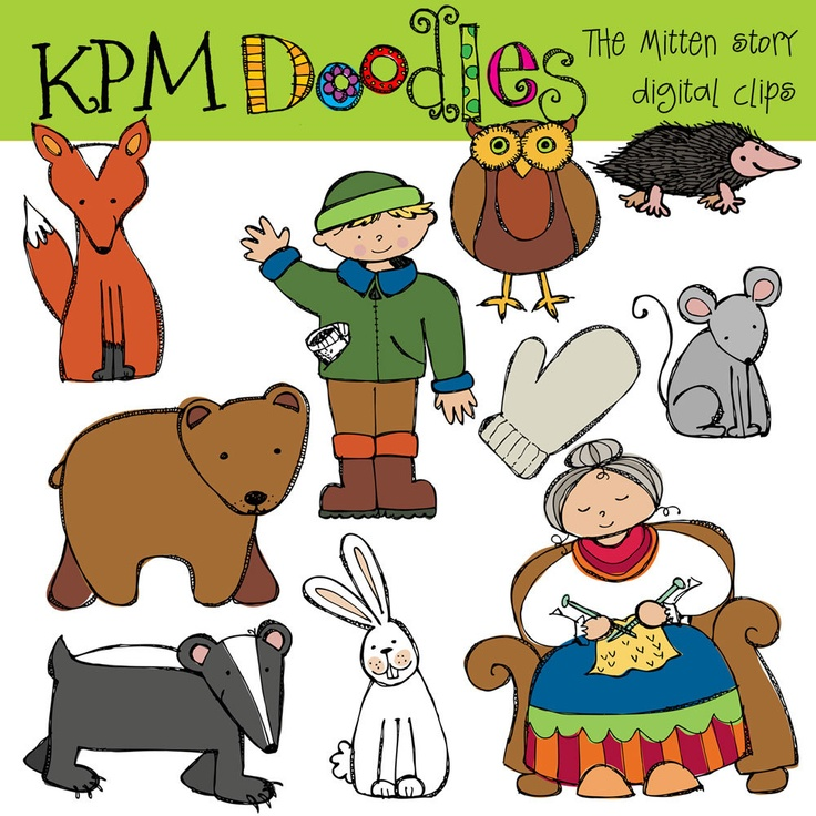 COMBO PACK The Mitten Story Digital Clip art and black line stamps. $5 ...