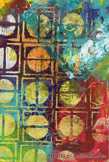 "Ronda Palazzari using the Balzer Designs ""Circles in Squares"" stencil"