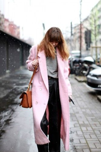 Jil Sander vibes with the pink coat. Photos by Victoria  Adamson.