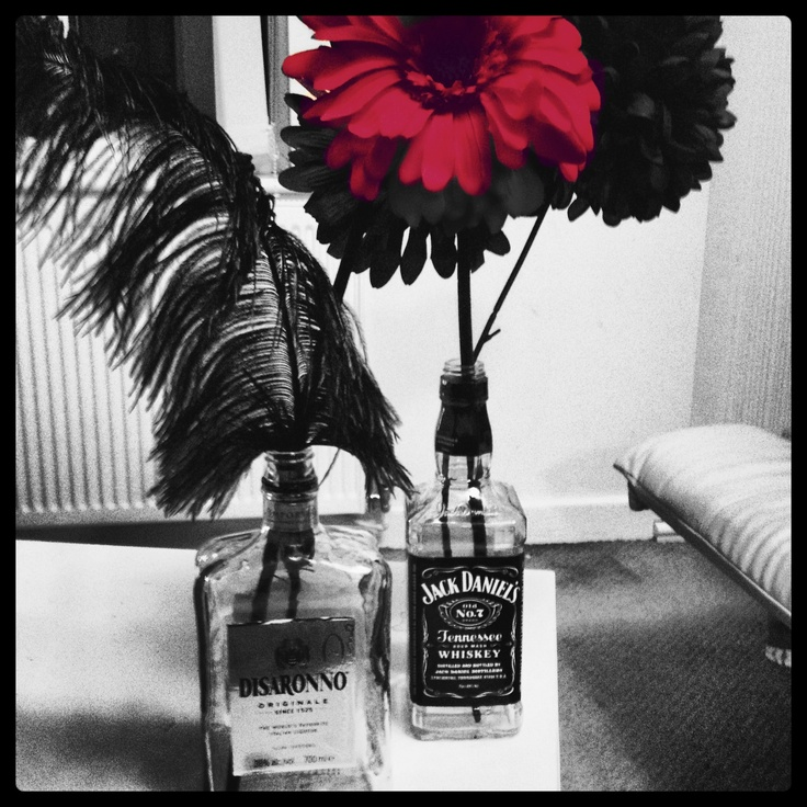 Jack daniels bottles as center pieces gary s th