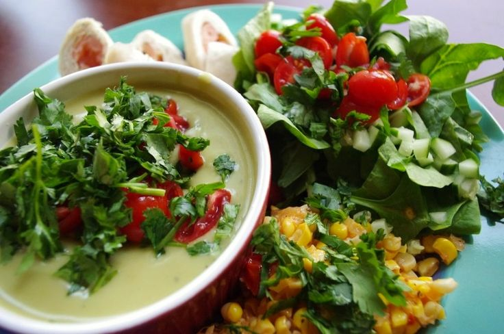 ... avocado soup w/ cucumber, cilantro, & cherry tomatoes. Roasted corn