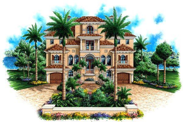 Coastal Florida Mediterranean House Plan 60563