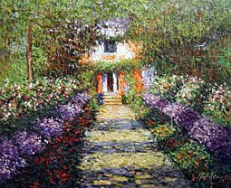 "This painting by Monet is of a courtyard outside of a French country home. It is entitled ""A Pathway in Monet's Garden at Giverny"""