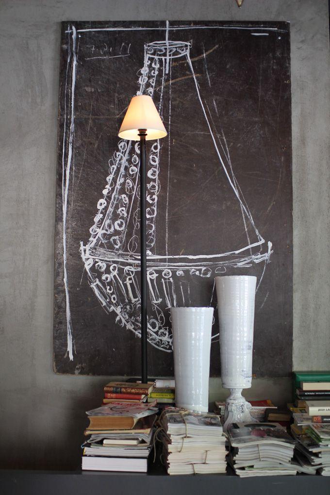 Chalkboard Chandelier! photography: Sania Pell via @decor8