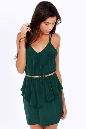 Dance till dawn hunter green peplum dress at lulus.com!