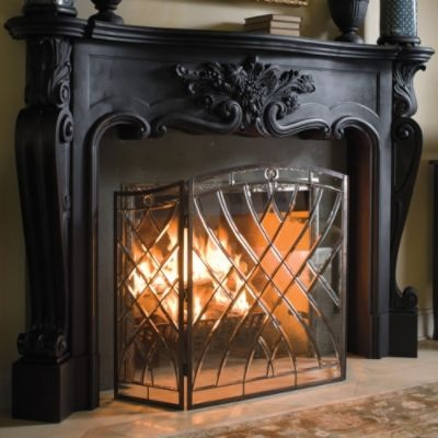 Victoria Glass Fireplace Screen Frontgate