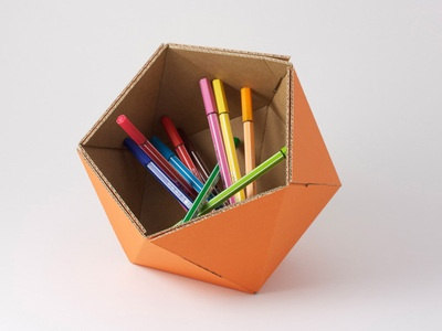 ICO - orange Recycled Cardboard Basket.  diameter 21 cm (8,3 in)  recycled cardboard and FSC certified paper  MADE IN FRANCE