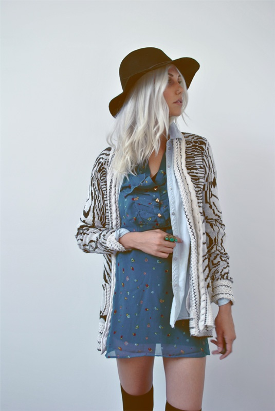 "Amanda of ""One of Each"" rocking UO's textured knit cardigan #urbanoutfitters @Amanda Shoemaker"