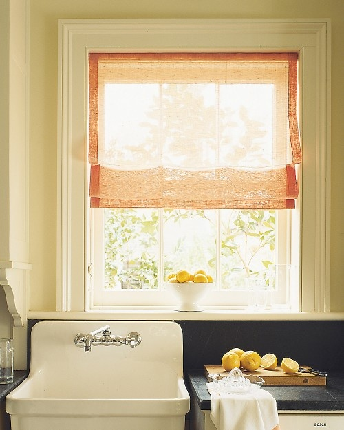 Casual sheer shade for Roman shades for kitchen windows