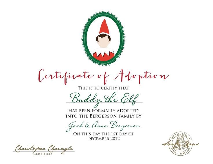 Pin by beth schulken bryan on christmas elf on the shelf pinterest for Elf adoption certificate