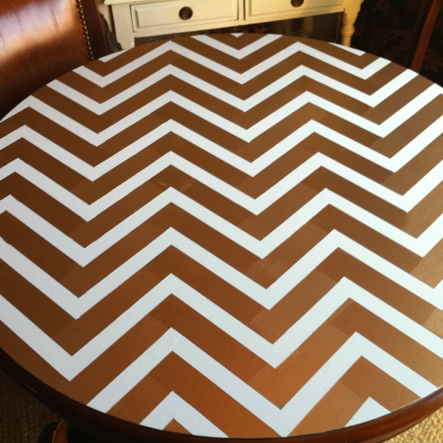 My newly repainted dining table top. Only mildly obsessed with the result.