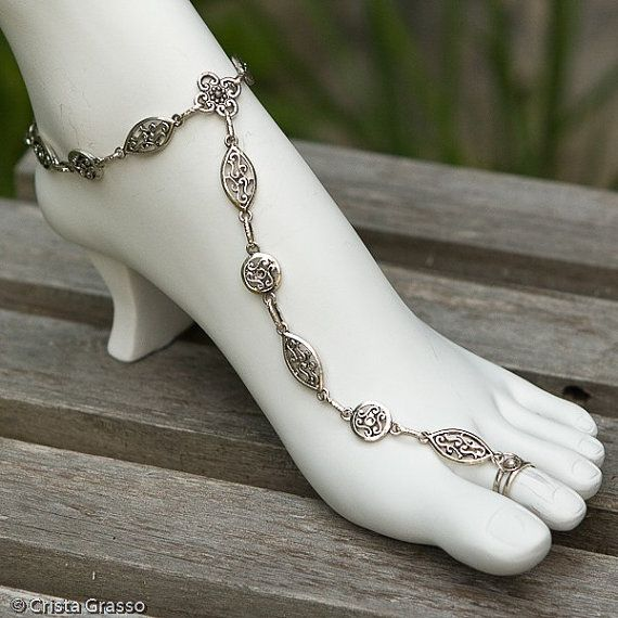 sterling silver toe ring anklet combo color gray