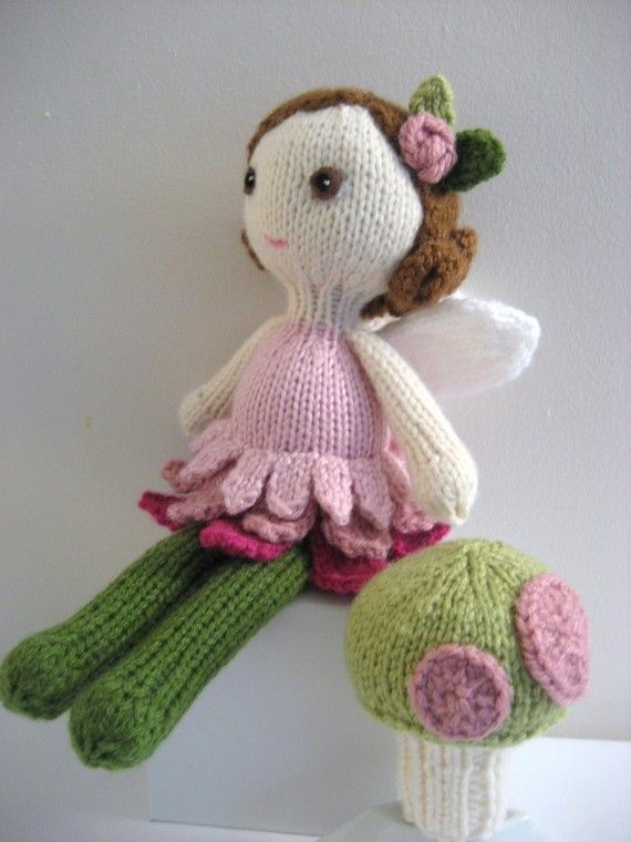 Knit Amigurumi Doll Pattern : Amigurumi knit fairy doll and mushroom pattern set digital