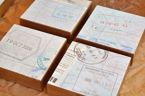 DIY wall art - old passports
