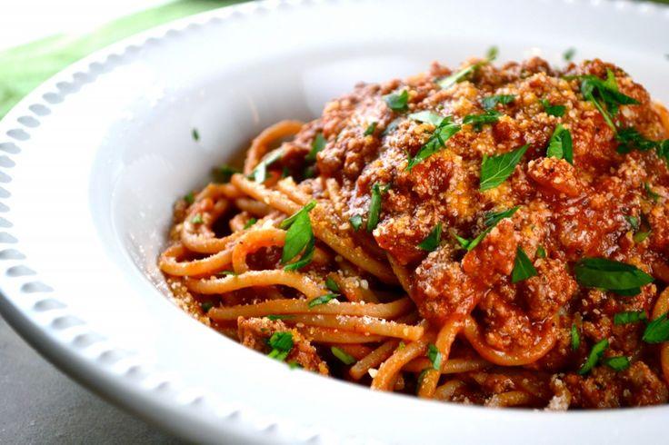 Spaghetti with Meat Sauce via stuckonsweet.com