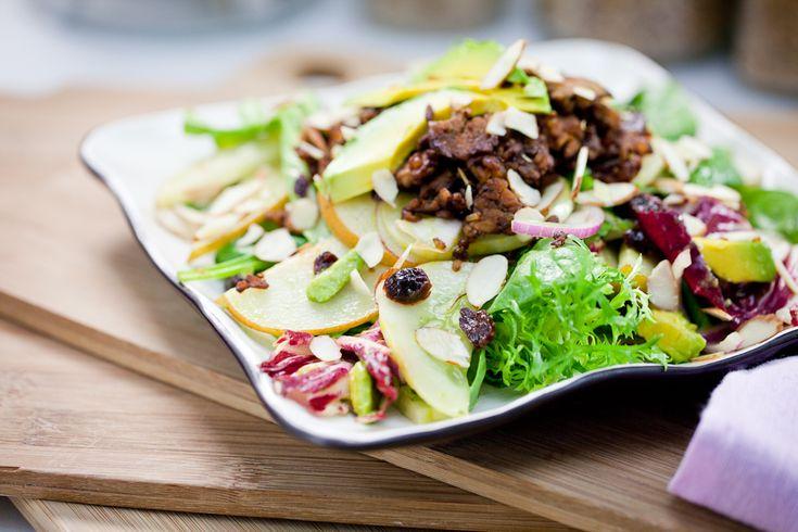 Asian Pear & Lemon Cucumber Salad with Rosemary Molasses Tempeh Bits