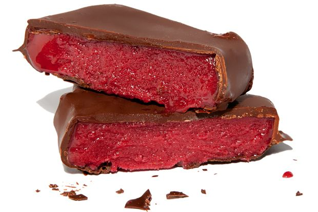 Raspberry Sorbet Bars - In this chocolate-dipped raspberry sorbet bar ...