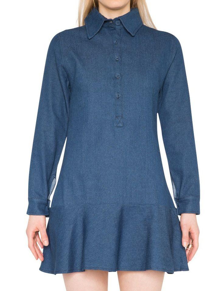 Denim Shirt Dress   blue is the warmest color.   Pinterest