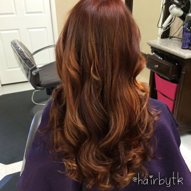 Red hair with copper balayage highlights | #hairbytk | Pinterest