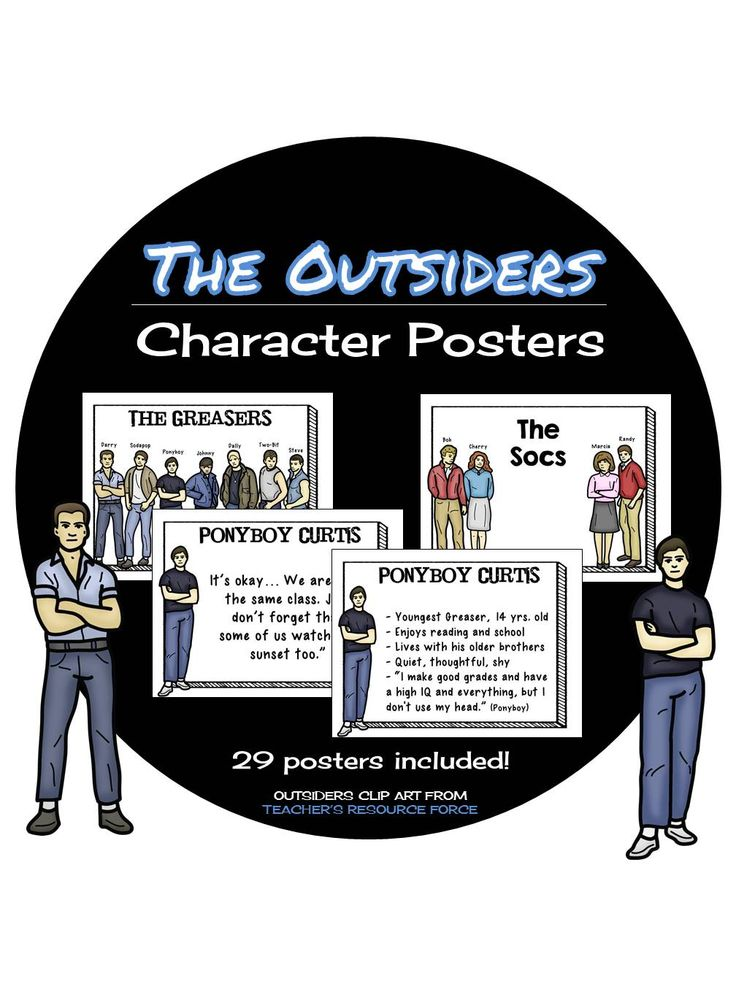 an analysis of the main characters in the outsiders Summary the outsiders is narrated by the main character, ponyboy curtis the story is placed in oklahoma during the 1960s in the first chapter, ponyboy introduces himself and gives a brief.