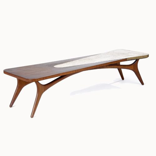 Vladimir Kagan Walnut Travertine And Brass Coffee Table 1950s Kagan Pinterest