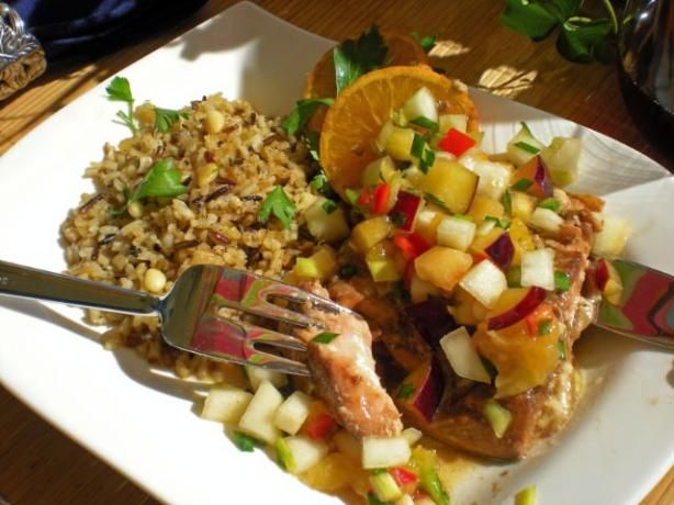 Baked marinated salmon with fruit salsa from food.com.