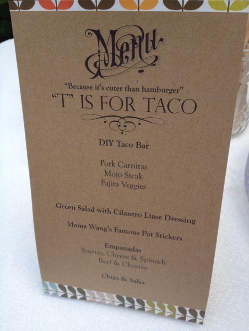 baby shower taco menu baby showers kids 39 birthdays pinterest