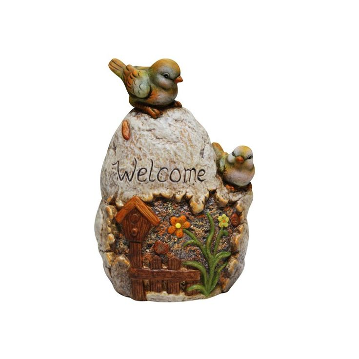 Ceramic Welcome Sign Rock With Bird Garden Statue Add A Fun Look To Your Landscape With These