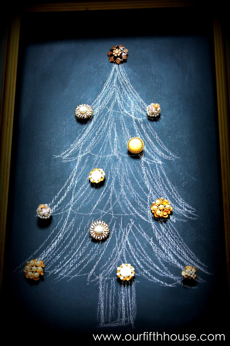 chalkboard Christmas tree with vintage earring magnets as ornaments