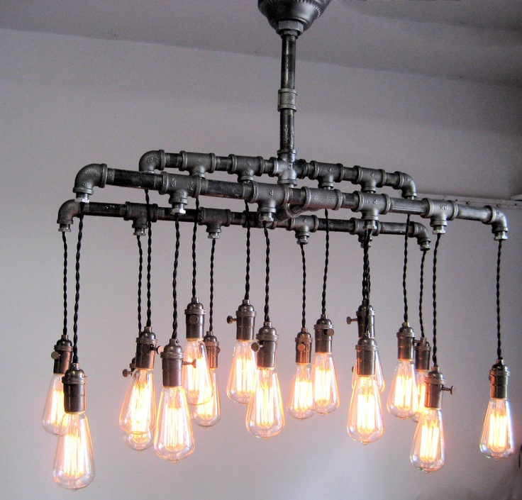 Industrial custom rustic pipe and cloth cord chandelier Industrial style chandeliers