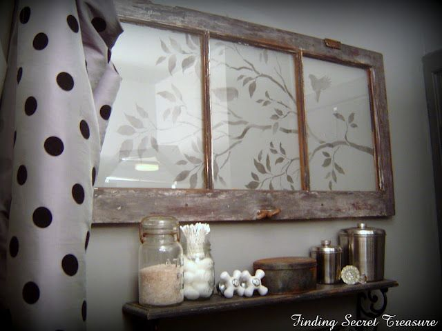 stenciled design on an old window - so pretty! By Finding Secret Treasure
