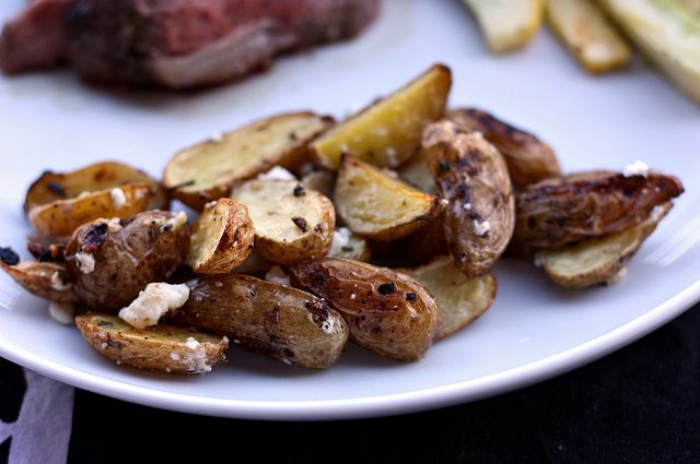 Roasted Fingerling Potatoes with Rosemary and Feta