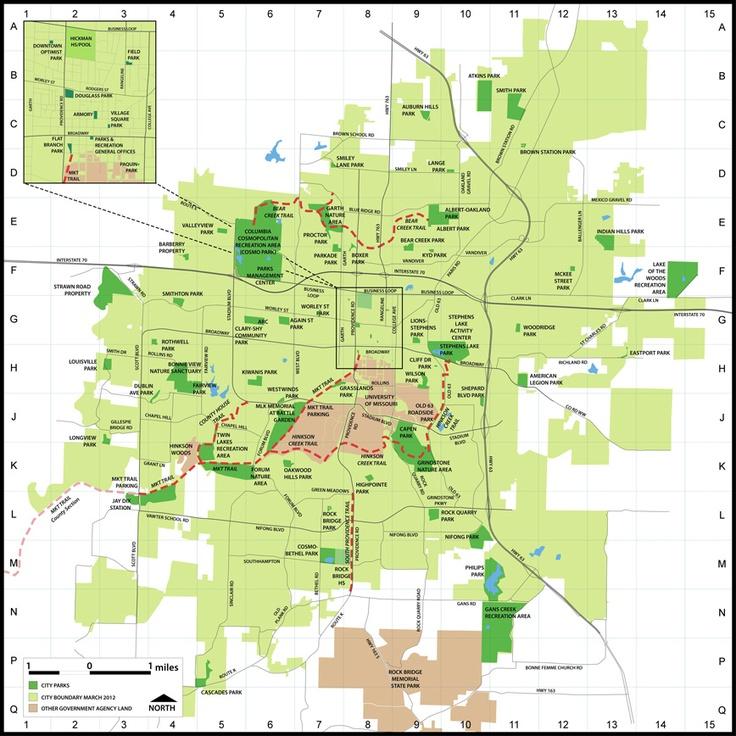 Columbia MO Park Map  Getaways  Pinterest