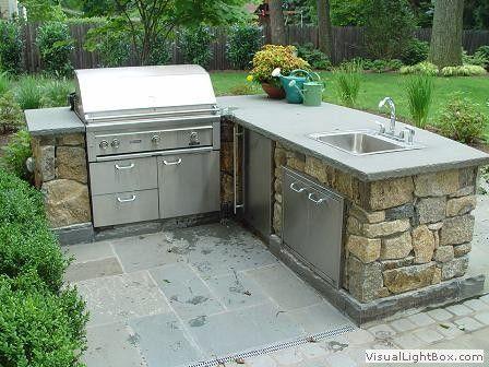 Outdoor kitchen with sink living a dream pinterest for Outdoor garden kitchen designs