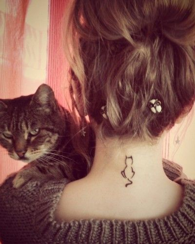 cat tattoo | Tattoo Ideas Central I really dig the size and placement  My tat - this cat sitting next to another cat (same as this cat) tails meet to form a heart.  (Not on my neck)