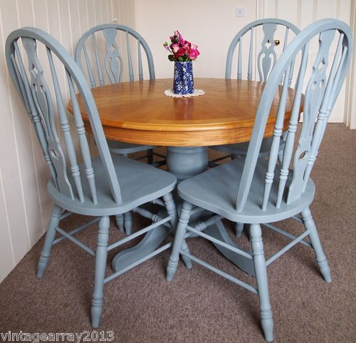 Shabby chic country farmhouse style round dining table 4 chairs - Shabby chic round dining table and chairs ...