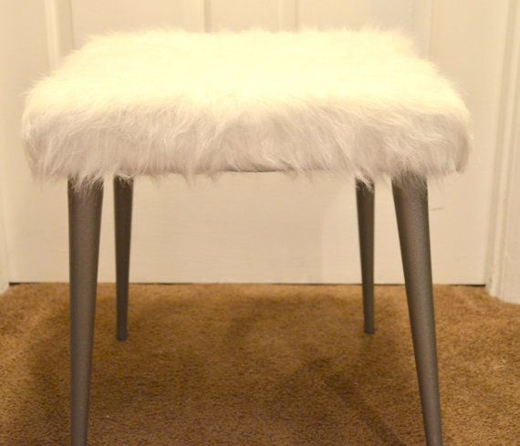 Faux White Fur Vanity Stool With Gray Legs