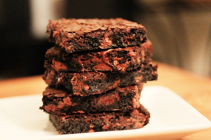 Deep-Dark Double Chocolate Fudge Brownies - these things give me an ...