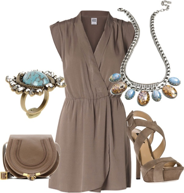 Dannijo jewery with Dress by lovelyingreen liked on Polyvore