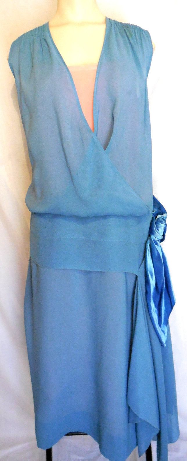 ... Authentic...1920s...silk flapper dress...very pretty...rare sz xxl