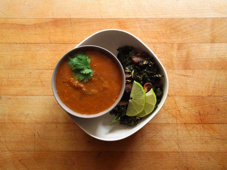 Tomato-Zucchini-Lentil Soup and sautéed kale, mushrooms, and garlic ...