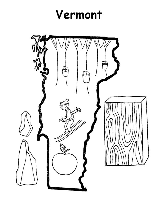 Vermont State Outline Coloring Page Coloring Pages Us