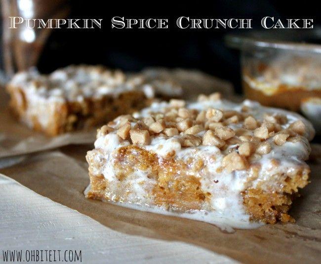 Pumpkin Spice Crunch Cake ... canned pumpkin, spice cake mix, toffee ...