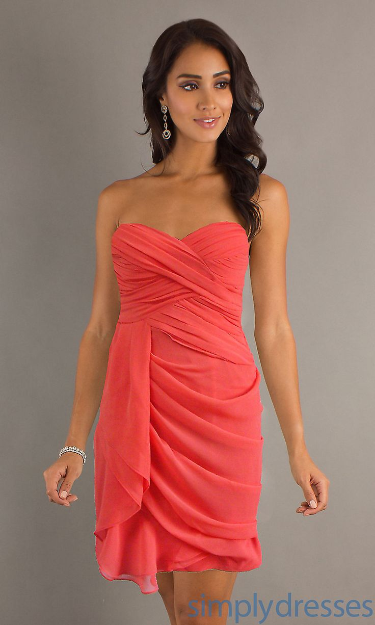 Pin by jenni zorich on weddings galore pinterest for Coral wedding bridesmaid dresses