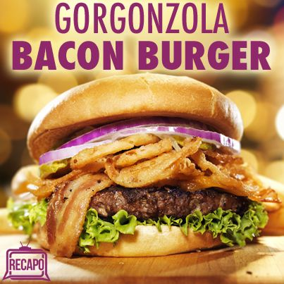 Rachael Ray: Gorgonzola Bacon Burgers Recipe with Caramelized Onions